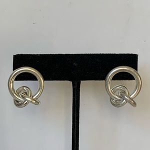 Vintage Sterling Silver Unique Knot Earrings